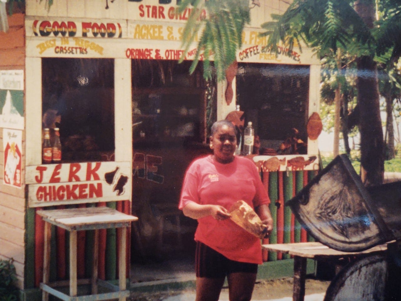 One of the most characteristic sights in Jamaica, found all over the island, is the Jerk chicken stand. This one is in Negril.