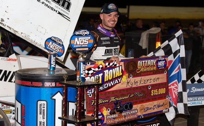 Kyle Larson is seen after winning Saturday's World of Outlaws race at Port Royal Speedway.