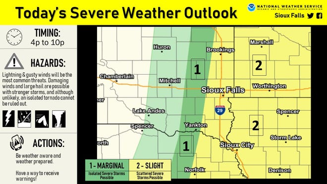 A chance of severe weather will move through the region Sunday night, according to NWS officials.