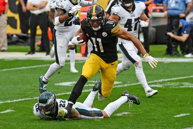 Pittsburgh Steelers wide receiver Chase Claypool (11) gets past Philadelphia Eagles safety Marcus Epps (22) to take a pass from quarterback Ben Roethlisberger for a touchdown during the first half in Pittsburgh on Sunday. Claypool scored four touchdowns in the Steelers' victory.