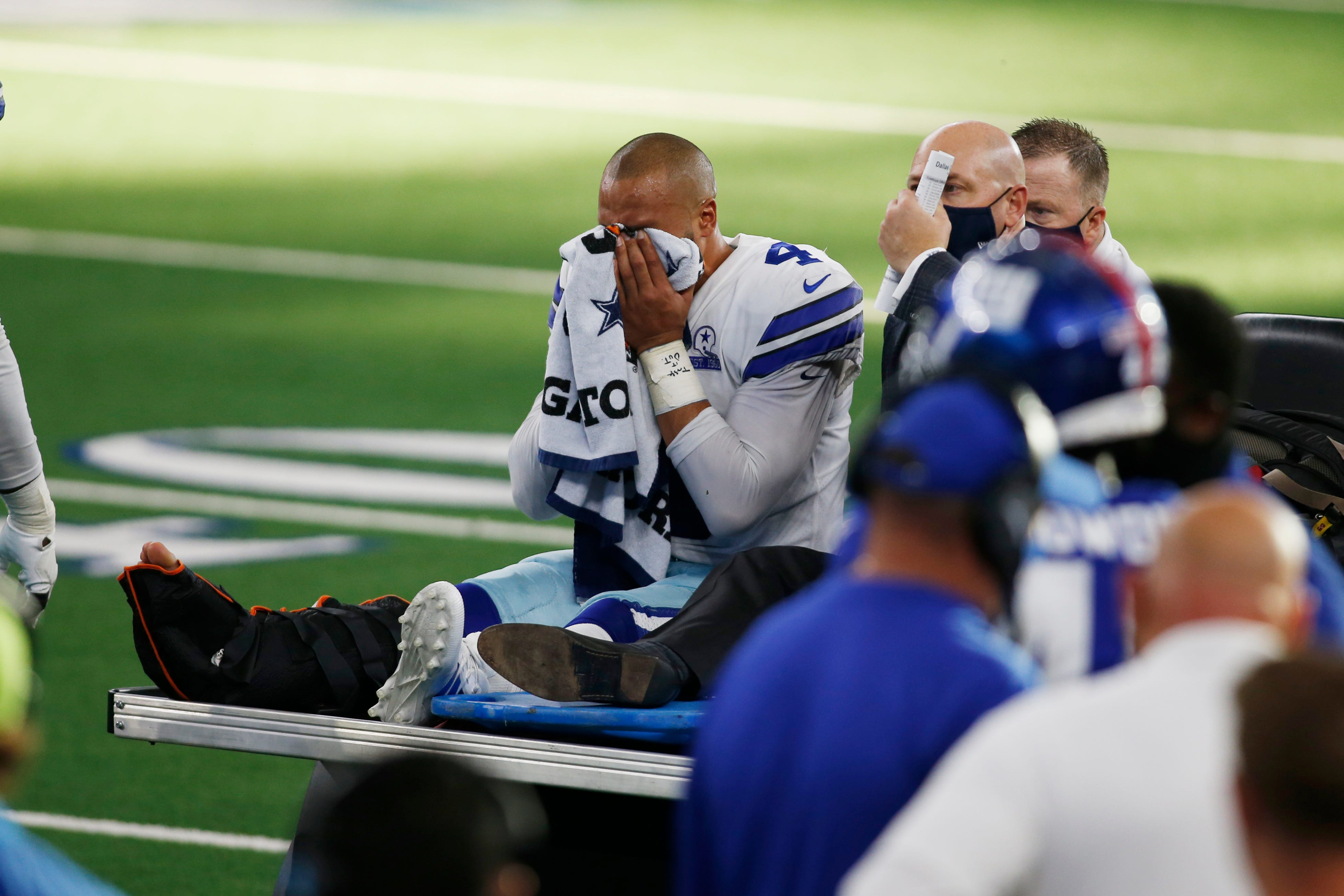 Cowboys QB Dak Prescott carted off in tears, sent to hospital after gruesome ankle injury