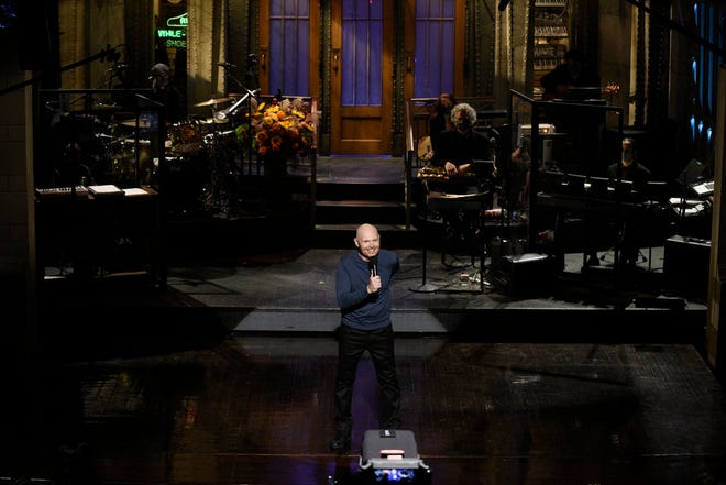 """""""SNL"""" host Bill Burr during the monologue on Saturday, October 10, 2020."""