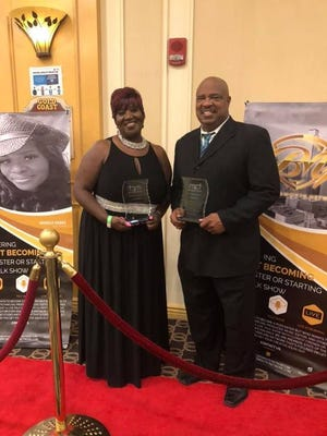 Cedric Bailey received Hall of Fame Award at the 9th Annual Radio Showcase and Reception in Las Vegas over the weekend. Here he is pictured with Dr. Susie Jones of Los Angeles, Calif., the other recipient of the award.