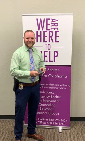 APD Cpl. Landon Gary was presented with the FSSO's second annual Community Service award on Monday, Oct. 12 for his dedication to victims of domestic violence and sexual assault.
