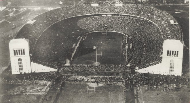 An air view of the Ohio State vs. Michigan football game on November 13, 1926. Ohio State lost 17-16. [Courtesy of the Ohio State University Archives]
