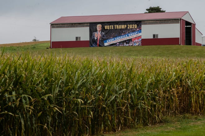 A Trump sign can be seen on a barn along State Route 13 in Perry County. In 2016, the county chose Donald Trump by a 40-point margin. Perry County has voted Republican in all but four presidential elections since 1960.