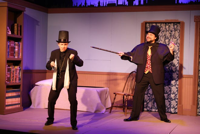 "From left: Elizabeth Girvin as Dr. Carew and Scott Douglas Wilson as Mr. Hyde in Red Herring Theatre Company's production of ""Dr. Jekyll & Mr. Hyde."""