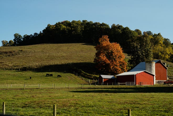 A farm along Ohio State Route 78 on Friday, Oct. 9, 2020 in Woodsfield, Ohio. Long a Democratic stronghold, Monroe County, where Woodsfield is the county seat, voted for President Barack Obama in 2008 and 2012, but broke heavily for President Donald Trump in 2016.