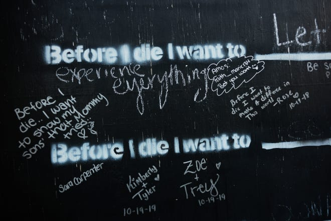 A public mural on Wednesday, Oct. 7, 2020 in Portsmouth, Ohio. Portsmouth is one of the cities hardest hit by the opioid epidemic.