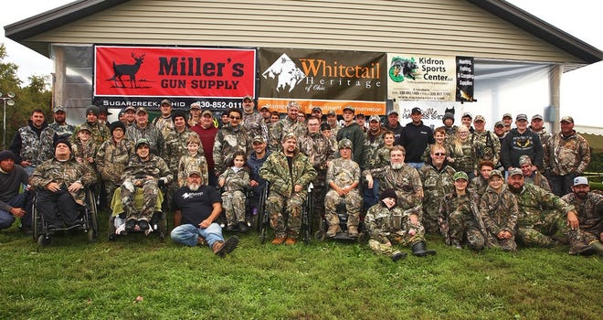 Hunters, volunteers and Whitetail Heritage of Ohio members pose at Pilgrim Hills Camp in Brinkhaven for a team shot prior to the organization's Oct. 3 archery deer hunt. There were 25 hunters on over 23 properties getting the opportunity to harvest a deer.