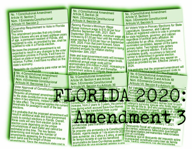 Florida's proposed constitutional amendments for 2020: Amendment 3 would move Florida to an open primary, where all candidates appear on every ballot and the top two vote-getters advance to the general election.