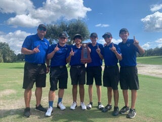 The Matanzas High boys golf team won the 2A-District 3 championship Monday, Oct. 12, 2020. Pictured, from left, is coach Thad Busby, Jake Vannucci, Marcos Defeo, Ashtin Arlaud, Matt Santilli and Alek Libby.