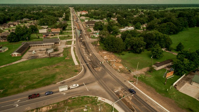An aerial photo shows Hwy. 42 in Prairieville during the widening project, which was anticipated for completion in spring this year.