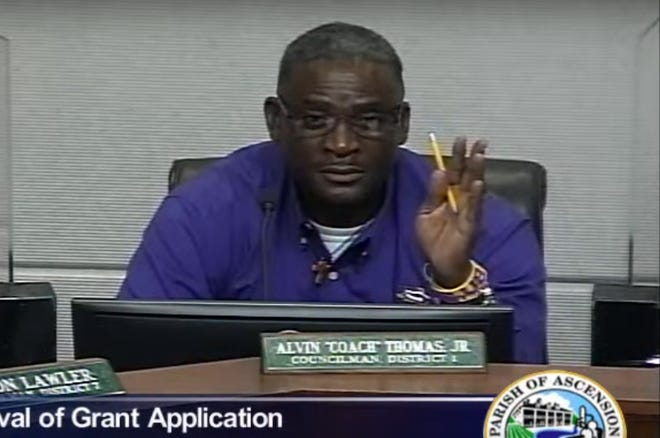 "The Ascension Parish Council's Alvin ""Coach"" Thomas asks a question during the Oct. 6 Utiltiies Committee meeting."