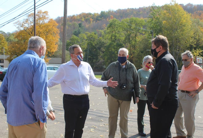 State Senator George Borrello talks about rural broadband with officials from Armstrong and Allegany County government in Alfred Station last month.