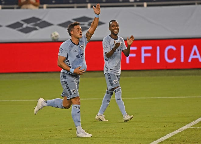 Sporting Kansas City forward Erik Hurtado (19) celebrates after scoring what turned out to be the game-winning goal in Sunday's 2-1 home victory over Nashville SC.