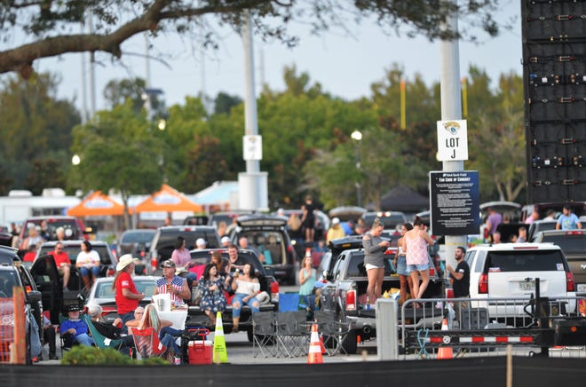 """Cars were parked in every other spot at Lot J for Jon Pardi's """"drive-in"""" shows, allowing for social distancing."""