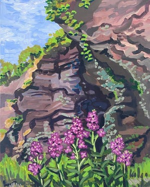 """Amanda Penecale is the recipient of the Award for First Time Exhibitor in Memory of Russel P. Gilsdorf given by Pat and Bruce Hamilton, for her work titled """"Cliff and Phlox."""" Amanda is an artist and art educator who has been painting imagery of Bucks County since childhood. Much of her work shows images around her parents' farm in the Ottsville area. Admiration of nature and changing light inspires her work. Her paintings land somewhere between representational painting and abstraction through her use of bold colors and brushwork."""