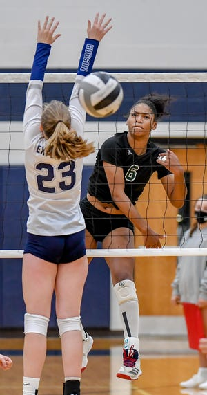 Nordonia junior Joy Banks puts down a kill during a match against Hudson earlier this season. The Knights claimed their second straight Suburban League National Conference title with straight-sets win over North Royalton Oct. 8.