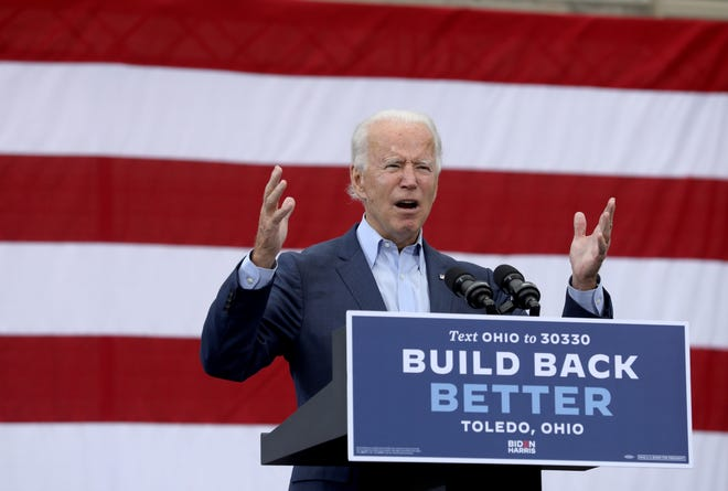 Presidential candidate Joe Biden speaks at a drive-in rally at UAW Local 14 in Toledo, Ohio, on Monday.