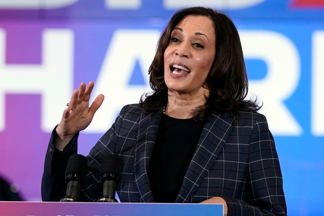 Democratic vice presidential candidate Sen. Kamala Harris, D-Calif., speaks at the Carpenters Local Union 1912 in Phoenix on Oct. 8.
