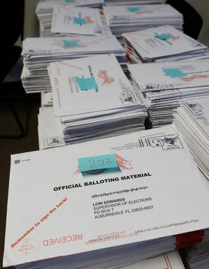 Mail-in ballots received at the Polk County Supervisor of Elections facility in Winter Haven.