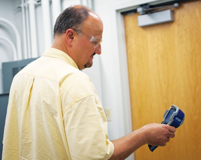 A thermal imager is used during facility condition assessments, which provides data for the BUILDER Sustainment Management System.