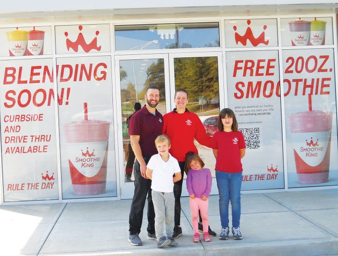 Vaughn Scarbrough and his wife Jess Scarbrough will be owners and operators of a new Smoothie King location in Oak Ridge. Pictured with them are their children Ezri, from left Phoenix and Soleia.