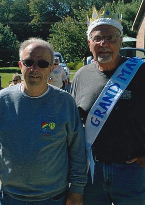 Jay Richardson, the 2019 Ravenna Balloon A-Fair grand marshal, and Mike Tontimonia, the 2020 honoree, sharing the fun.