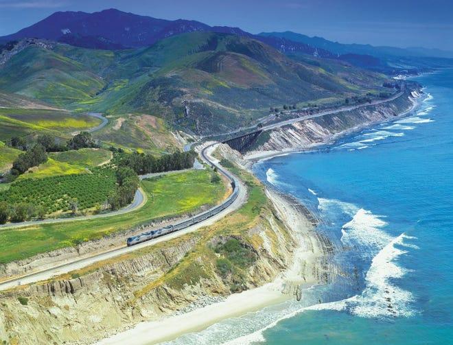 Amtrak's Coast Starlight train moves along the Pacific Coast.