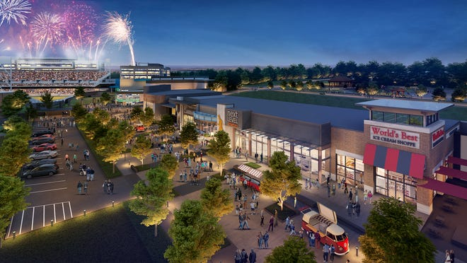 Here's an artist rendering of the retail district for the Hall of Fame Village powered by Johnson Controls.