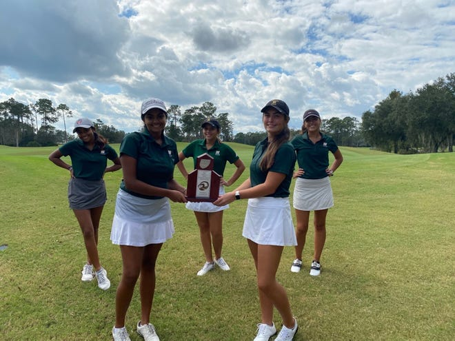 Nease's girls golf team won the 2-3A title at Slammer & Squire on Tuesday. Pictured are Shanya Arasu, Bryce Lounsbury, Grace Richards. Front, Thanya Arasu and Marissa Cardenas.