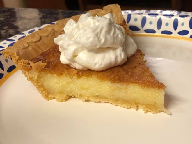 Old Fashioned Buttermilk Pie is one of the recipes in the Hope Mills Presbyterian Church cookbook.