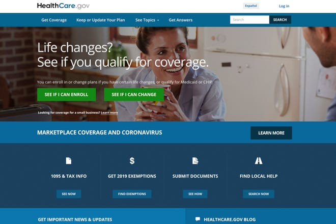 The website for HealthCare.gov.