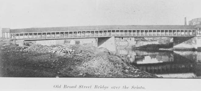 This bridge, pictured circa 1866, carried Broad Street over the Scioto River from 1834 to 1882.