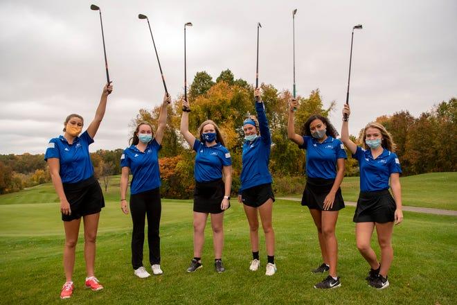 Harper Creek golfers Sydney Kadlub, Marlene Bussler, Lauren Reed, Jordanne Norris, Ariana Flemons and Emilee Ryan pose for a picture on Monday, Oct. 12, 2020 at Binder Golf Course in Battle Creek, Mich.