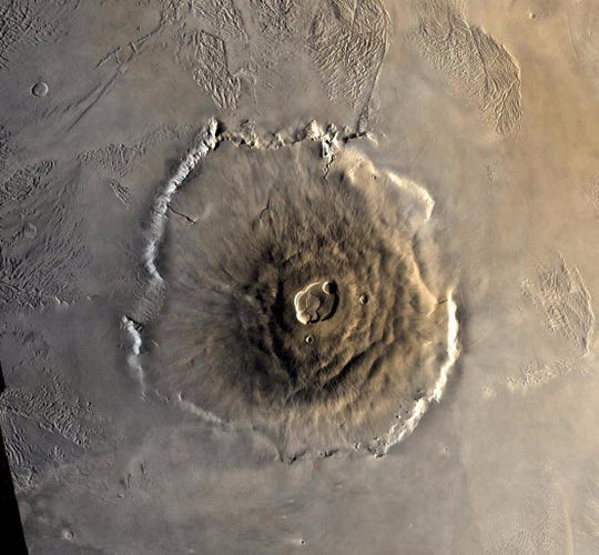 Olympus Mons – the largest volcano in the solar system.