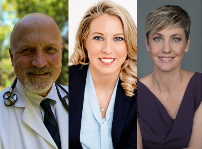 The candidates for Kentucky House District 67:  Republican Mark Schroer write-in candidate, Republican nominee LeAnna Homandberg, center, and incumbent Democrat Rachel Roberts.