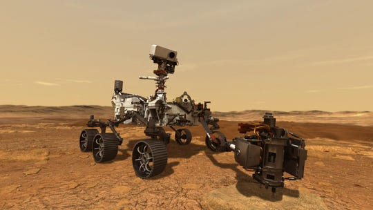 The Mars Perseverance rover.