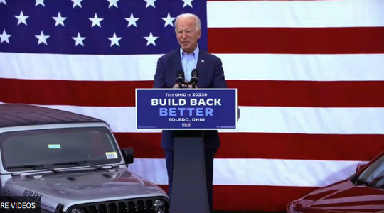 Democratic presidential nominee Joe Biden speaks in  Toledo on Monday, Oct. 12, 2020.