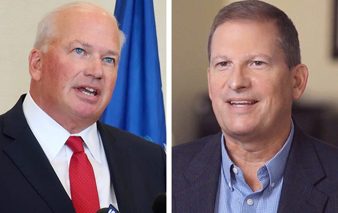 State Sen. Scott Fitzgerald, left, and Democratic challenger Tom Palzewicz, right. The candidates are competing for Wisconsin's 5th Congressional district seat.
