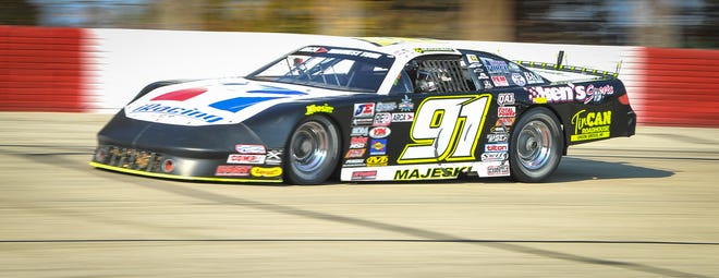 Ty Majeski races into Turn 3 during the feature Sunday, October 11, 2020, during Oktoberfest Race Weekend at La Crosse Fairgrounds Speedway in West Salem, Wisconsin.