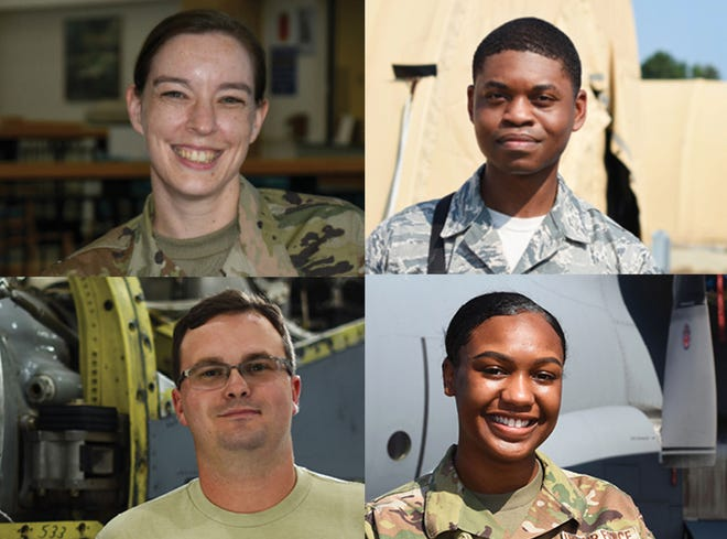 Four members of the 908th are, clockwise from top left, Master Sgt. Jennifer Freeman, Tech. Sgt. Chance Webster, Staff Sgt. Joe Abernathy, and Staff Sgt. Airielle Edwards.