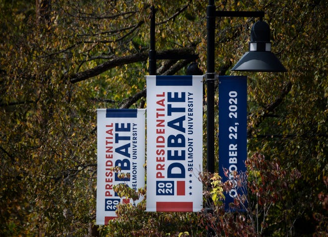 Signs promote the presidential debate near Belmont University on Oct. 12 in Nashville. The university will host the debate Oct. 22, between President Donald Trump and former Vice President Joe Biden at the Curb Event Center.