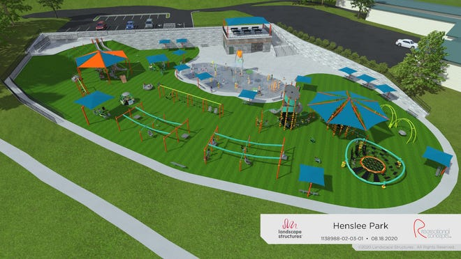 Conceptual drawing of a proposed splash pad and playground in Henslee Park in Dickson.