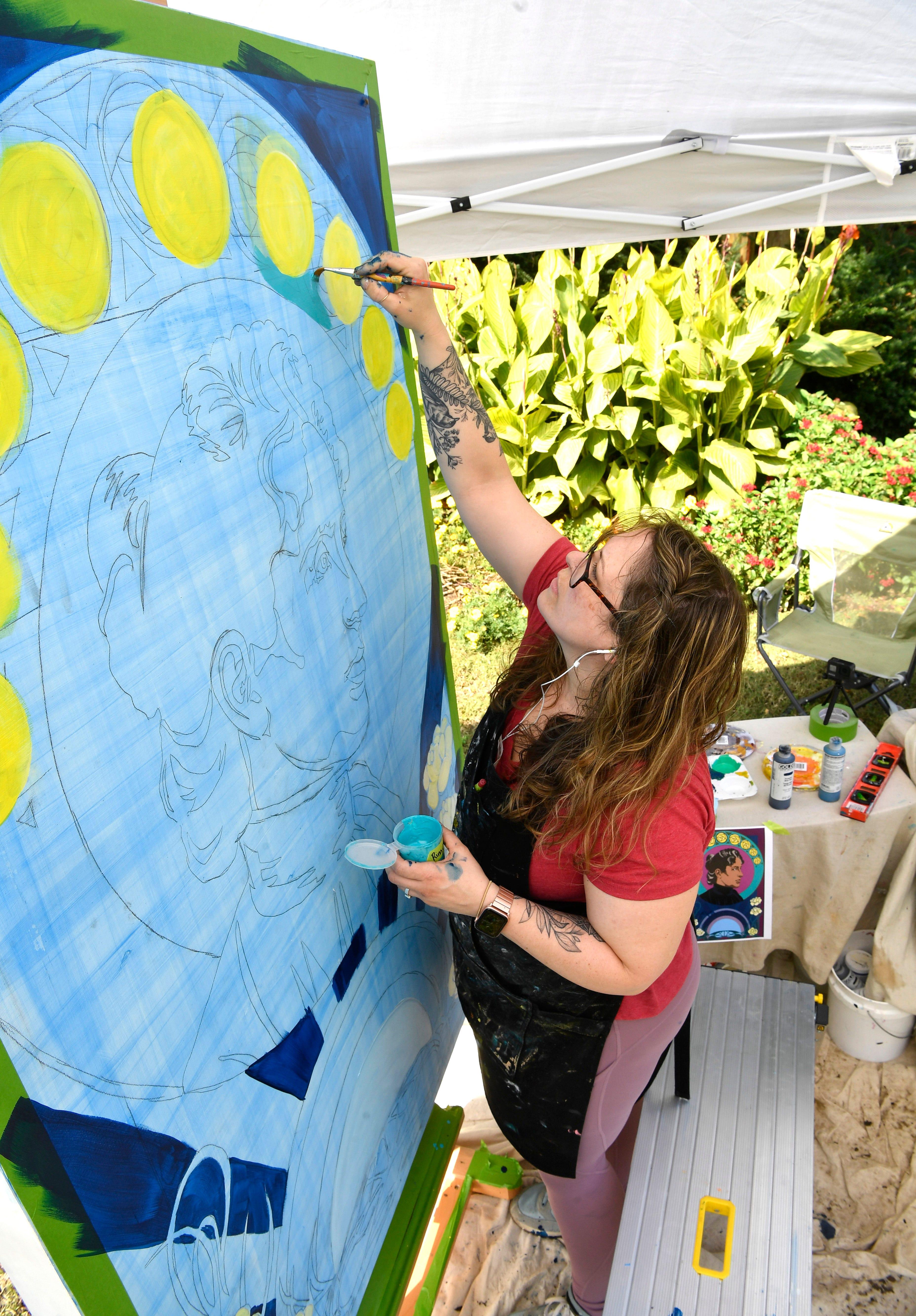Artist Paints Woman S Suffrage Mural In Centennial Park S Sunken Gardens