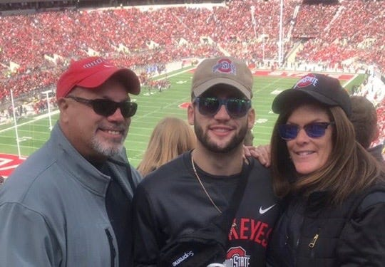 Chase Meola with parents Paul and Margaret at a 2016 Ohio State football game.