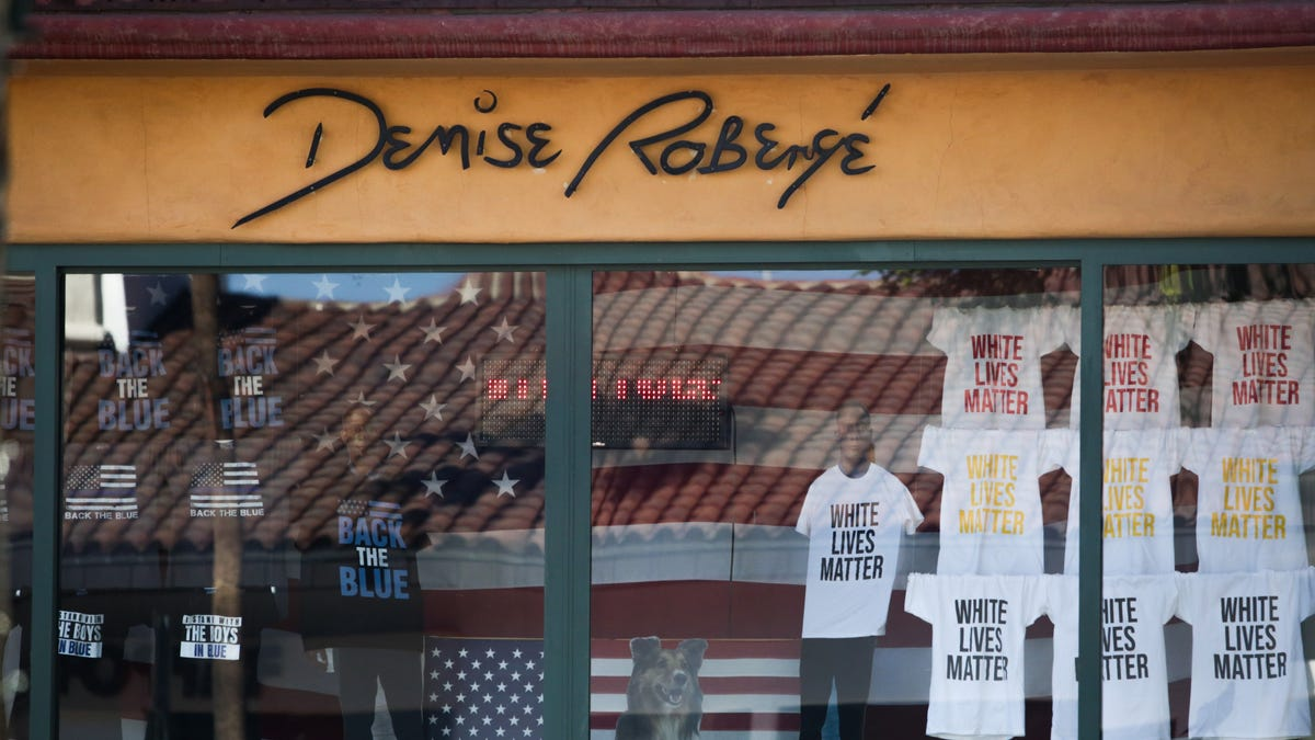 Photos: 'White Lives Matter' display shown in window of Palm Desert gallery on El Paseo