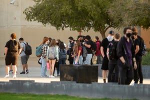 Students return to in-person learning during the COVID-19 pandemic at Apache Junction High School in Apache Junction on Oct. 12, 2020.