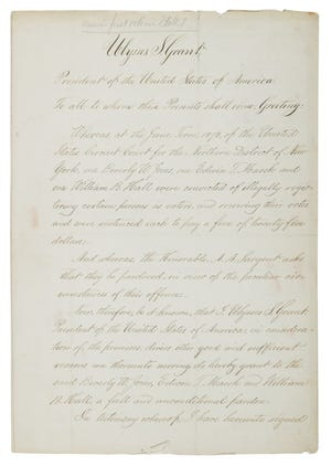 Ulysses S. Grant's 1874 pardon for the election officials who allowed Susan B. Anthony to vote.